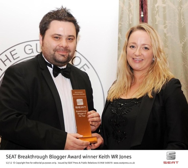 Keith WR Jones receives the inaugural SEAT Guild of Motoring Writers Breakthrough Blogger Award from Juliet Carrington