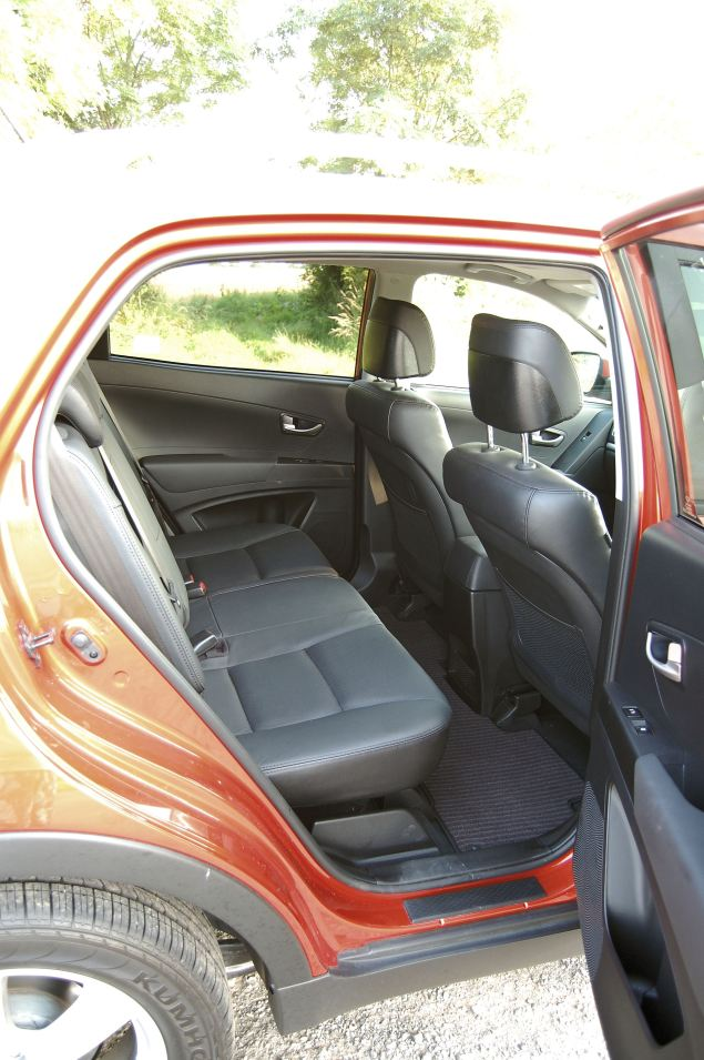 The Korando's three-seater rear bench is spacious, reclines and on EX models, heated.