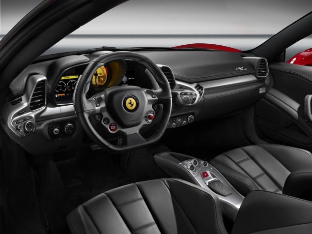 The 458 Italia's snug cabin combines luxury with tangible links to the marque's racing heritage
