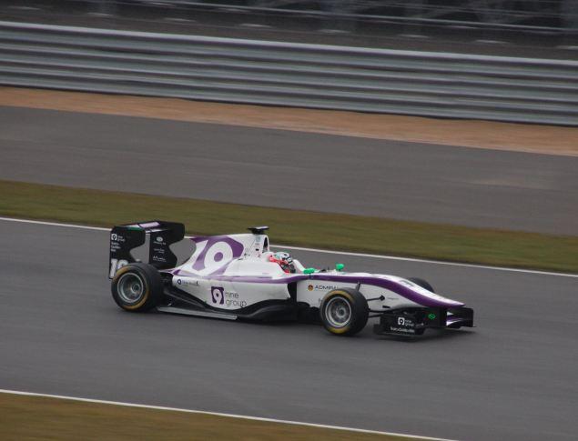 Josh's Status Grand Prix run Dallara GP3/13 powers down Silverstone's Old Pit Straight
