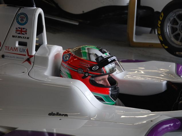 Josh Webster moments before setting off for his final GP3 pre-season test