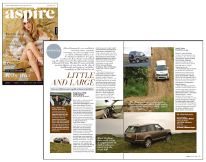Aspire Magazine, January 2015 motoring feature editor Oliver Hammond motoring journalist automotive copywriter Yorkshire Manchester