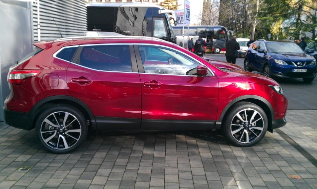 Side photo - All new Nissan Qashqai 2014 European launch Madrid Nick Johnson Keith Jones Petroleum Vitae