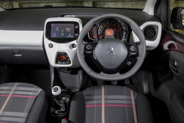 Peugeot 108 UK launch interior Sam Sheehan
