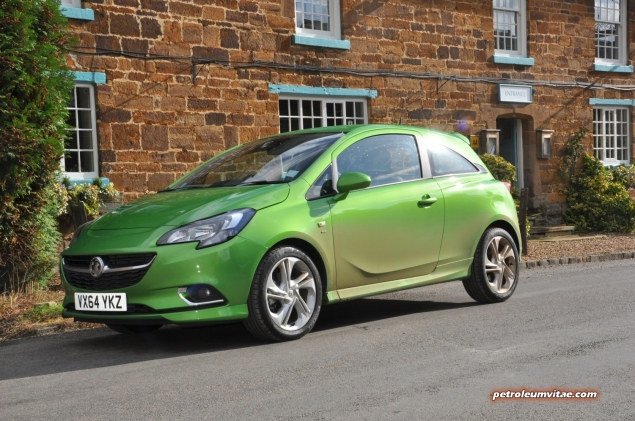 New 2015 Vauxhall Opel Corsa UK launch first drive impressions road test review 1 litre 1.4 ECOTEC handling Fiesta interior quality Polo - photo - green SRi 3dr