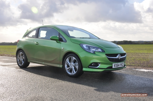 New 2015 Vauxhall Opel Corsa UK launch first drive impressions road test review 1 litre 1.4 ECOTEC handling Fiesta interior quality Polo - photo - Lime SRi 3dr front 34