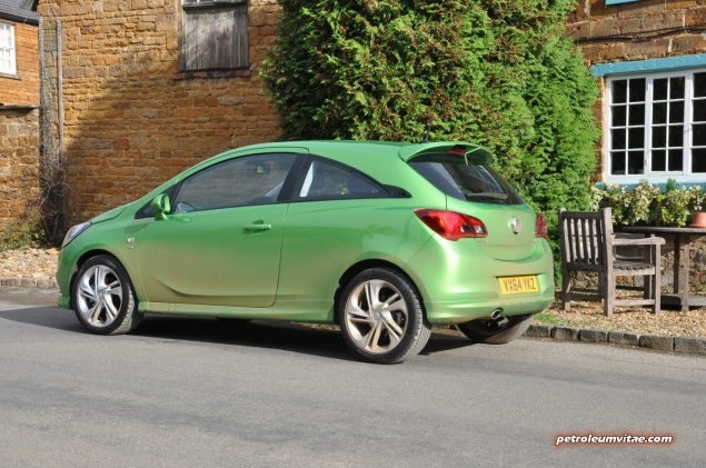 New 2015 Vauxhall Opel Corsa UK launch first drive impressions road test review 1 litre 1.4 ECOTEC handling Fiesta interior quality Polo - photo - Lime SRi 3dr rear 34