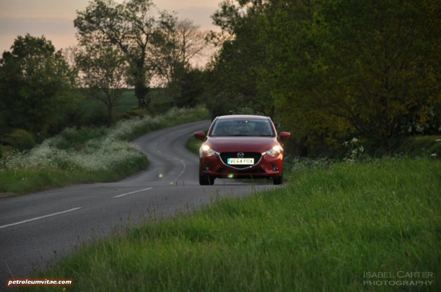 All-new 2015 Mazda2 1.5 90PS SE-L Nav full road test review evaluation report, freelance motoring blogger automotive journalist Oliver Hammond, wallpaper gallery photo - front action