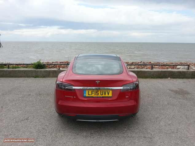 Tesla Model S 85 rear full road test review freelance journalist blogger Oliver Hammond - wallpaper image gallery - Crosby west coast