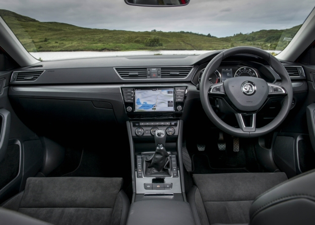 New 2015 Skoda Superb 2.0 SE L Executive hatchback road test review, Oliver Hammond - interior dashboard