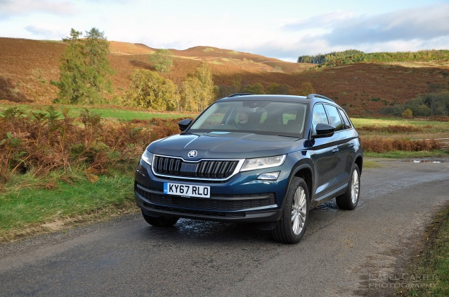Skoda Kodiaq 4x4 7-seat SUV road test review UK - front 34 driving