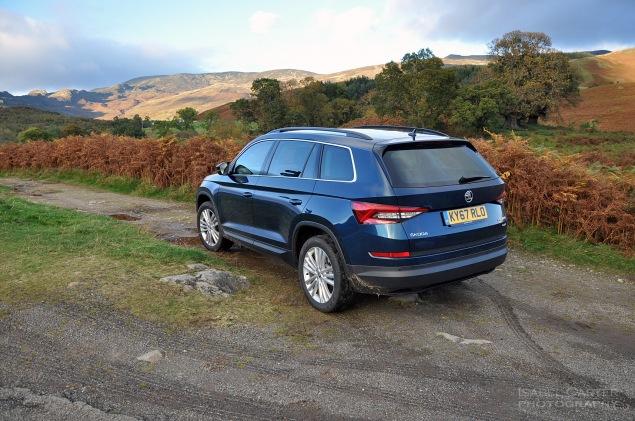 Skoda Kodiaq 4x4 7-seat SUV road test review UK - rear off road