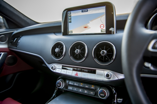 Kia Stinger GTS interior detail cabin - infotainment touchscreen