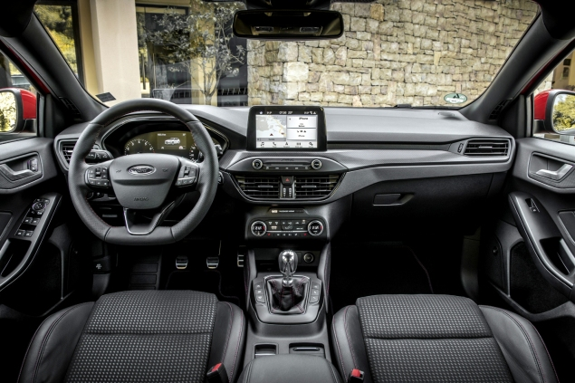 Interior dashboard and SYNC3 infotainment screen in new Ford Focus hatch for 2019