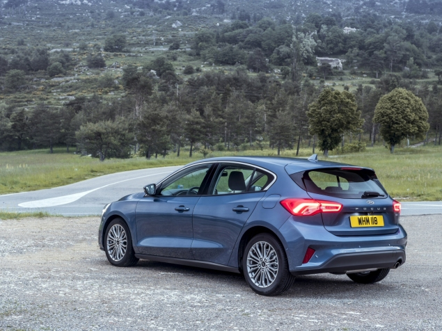 Rear of the new Ford Focus for 2019, with LED lights and large lettering