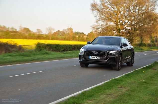 Audi Q8 SUV coupe crossover road test review - Oliver Hammond - driving front 34b
