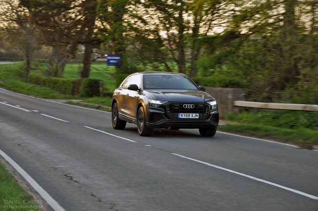 Audi Q8 SUV coupe crossover road test review - Oliver Hammond - in motion front