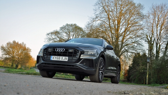 Audi Q8 SUV coupe crossover road test review - Oliver Hammond - static front 34 grille Matrix headlights photo