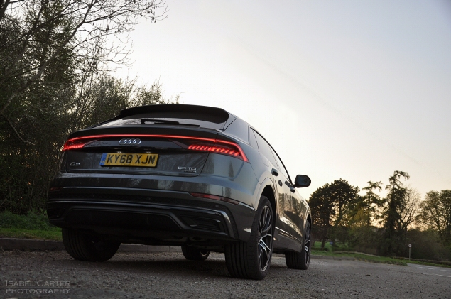 Audi Q8 SUV coupe crossover road test review - Oliver Hammond - static rear light bar LEDs